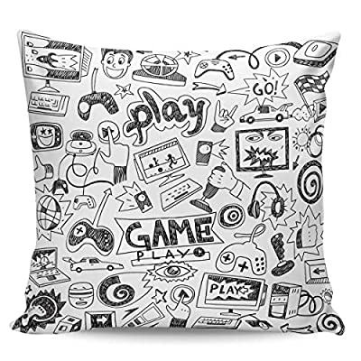 Video Games Short Plush Pillow Case Double Sided Print 16'' x 16'', Monochrome Sketch Gaming Racing Monitor Device Gadget Teen 90's Super Soft Square Throw Pillowslip Couch Sofa Covers for Bed Room from Edwiinsa