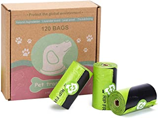 "Jtedzi Dog Waste Bags, Biodegradable Extra Thick and Strong Poop Bag for Dog, Guaranteed Leak-Proof Easy Tear, Premium Lavender Scented Green Eco-Friendly, 15 Doggy Bags Per Roll, 9""x13"""