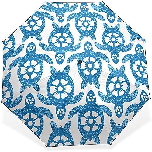 Viele lila Turtle Windproof Waterproof Compact Umbrella Sun Block Umbrella Faltbarer Sonnenschirm