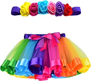 MY-PRETTYGS Toddlers Layered Tulle Rainbow Tutu Skirt with Flower Crown Wreath Headband for Baby Girls 0-24 Months.