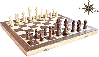 """Chess HOWADE 15"""" X 15"""" inch Wooden Chess Set Magnetic Foldable Board Game with Chessmen Storage Slots Unique Crafted Handm..."""