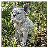 Dreafly Bouledogue français Statue Jardin décor résine Artisanat Chien Amoureux Cadeau Sculpture Patio pelouse Cour décoration de la Maison
