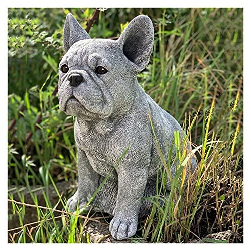 ZQDL Estatua de Bulldog Francés Decoración de Resina Artesanía Perro Amante Regalo Escultura Patio Césped Patio Decoración del Hogar