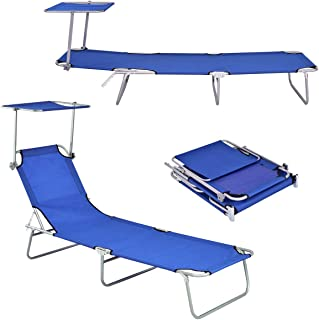 Giantex Lounge Chaise Foldable and Adjustable 5 Reclining Positions W/Sun Shade for Garden Beach Patio Pool Seat Outdoor Portable Recliner Lounge Chair (Navy)