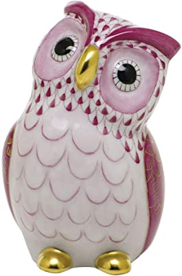 Herend Large Owl Bird Porcelain Figurine Raspberry Fishnet