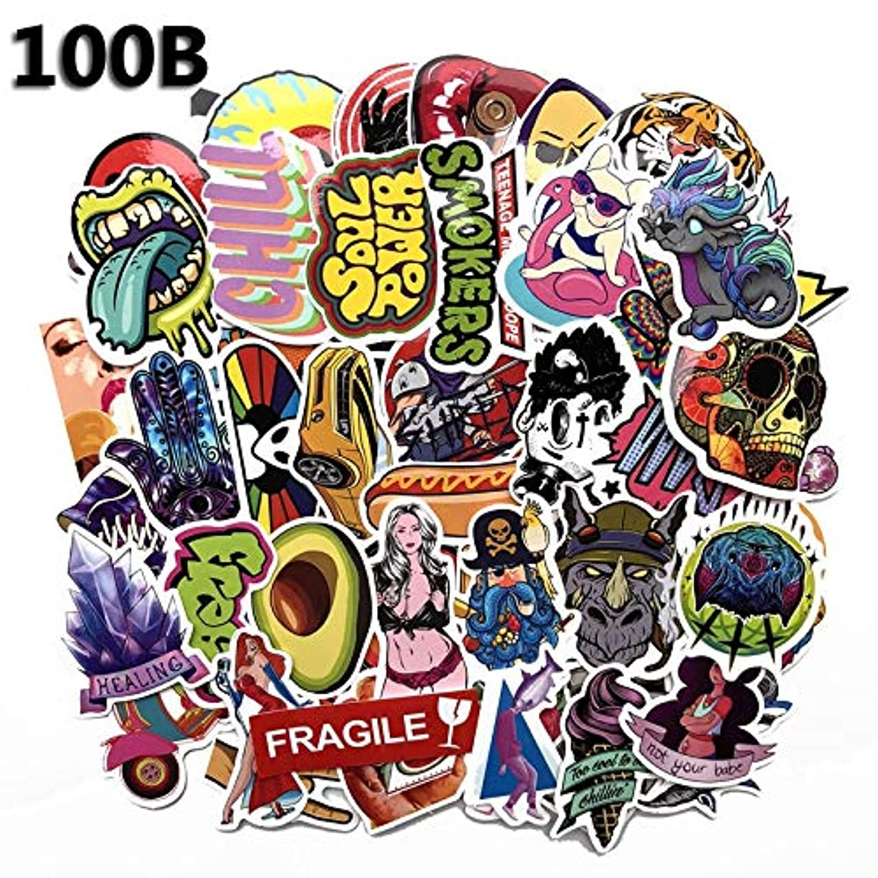 100pcs Phone Office Laptop Stickers On Laptop Toys for Children Car Trolley Case Trunk Guitar Graffiti Stikers shmbwvoojiydr983