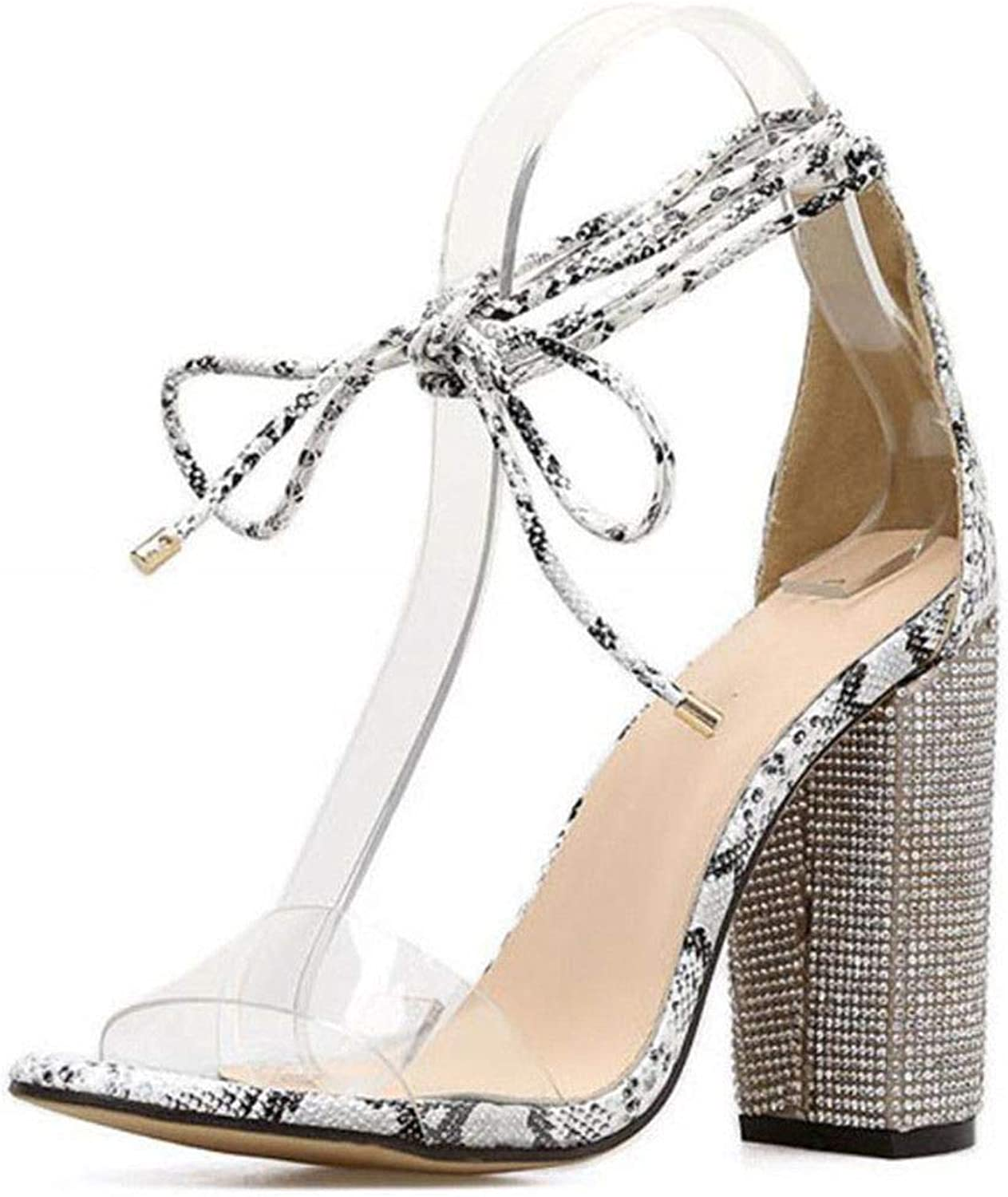 Platform shoes Aneikeh Women High Heels Sandals Summer Square Heels Crystal Heeled