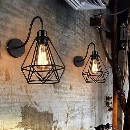 2 pack Appliques Murales Vintage Industrielle Noir Diamant Cage en Métal Plafonnier Luminaire Rétro Applique Intérieure Décoration pour Salon Cuisine Couloir Chambre Café Bar