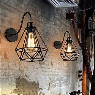 2 pack Appliques Murales Vintage Industrielle Noir Diamant Cage en Métal Plafonnier Luminaire Rétro Applique Intérieure Dé...