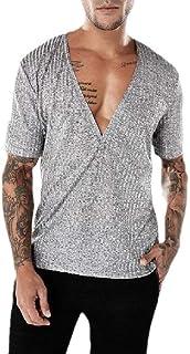 Energy Men's Solid Deep V-Neck Ribbed Short Sleeve Pullover Tshirt Top Light Grey S