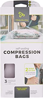 Travelon 3 Space Mates Compression Bags, Clear, 11.5 x 9.25 x 0.75