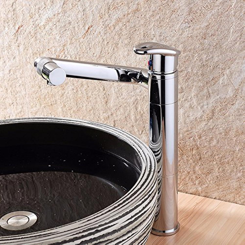 Bijjaladeva Wasserhahn Bad Wasserfall Mischbatterie WaschbeckenAlle Kupfer 360° schwenkbare Waschbecken mit Warmen und Kalten Wasserhahn Becken auf Hoher verchromt Tippen