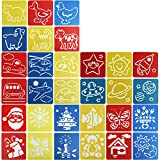 ScivoKaval 30 Pcs Painting Stencil Plastic Drawing Spraying Templates for Kids Crafts Washable Template Cute Patterns for School Projects Assorted Colors