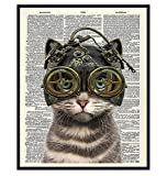 Steampunk Cat in Goggles, Gears - Gothic Wall Art Home Decor - Cat Wall Art - Gift for Kitty Kitten Pussycat Victorian Renaissance Fan - Home Decoration Poster Picture - Bedroom, Bathroom, Living Room