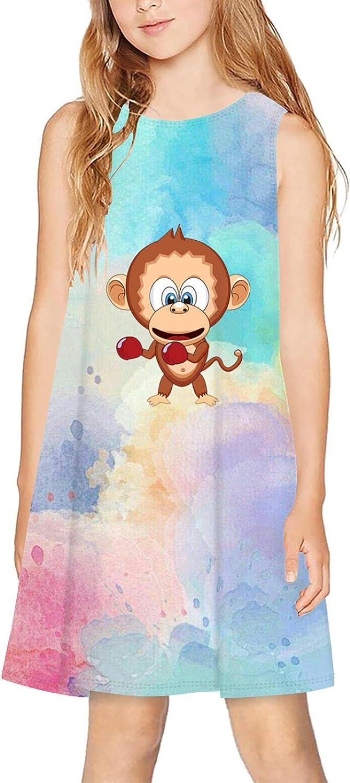 CAPINER 3D Print Girls Sleeveless Dress,Summer Cute Monkey Casual Dress Crewneck