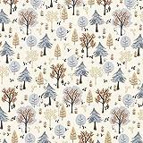 Fabulous Fabrics Baumwollstoff Popeline Mini Bär im Wald