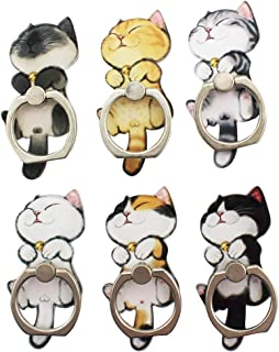 6 Pack Cute Cartoon Cell Phone Ring Holder Stand Metal 360 Rotation Finger Ring Grip Bracket Magnetic Car Mount Compatible...