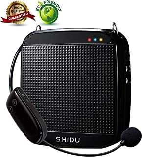 Wireless Voice Amplifier,SHIDU Wireless Voice Amplifier 2.4G 18W Portable Rechargeable PA System Loudspeaker with Wireless Microphone Headset for Teachers,Singing,Fitness Instructors,Yoga,Tour Guides