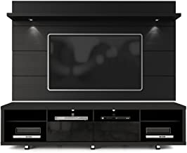 Manhattan Comfort Cabrini TV Stand and Floating Wall TV Panel with LED Lights 2.2 in Black