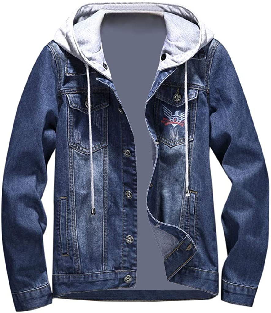 MODOQO Men's Denim Jacket with Hoodies Long Sleeve Big and Tall Jeans Outwear Coat