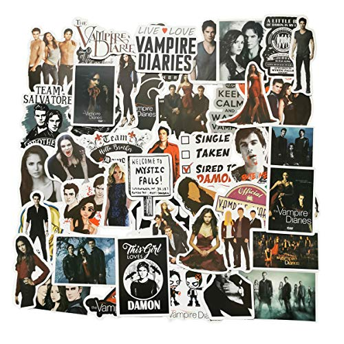 The Vampire Diaries Stickers 50pcs, American Vampire Movie Love Story Vinyl Decals for Laptop Skateboard Snowboard Water Bottle Phone Car Bicycle Luggage Guitar Computer PS4(The Vampire Diaries)