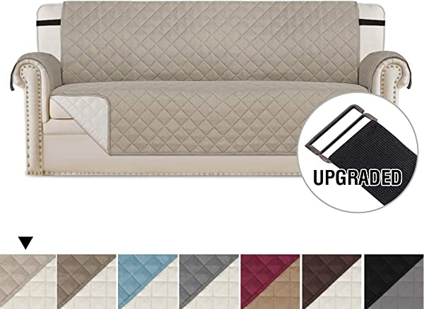 H VERSAILTEX Reversible Sofa Slipcover Water Repellent Sofa Cover Couch Covers For Dogs Furniture Protector 2 Inch Wide Elastic Straps Anti Slip Couch Slipcover Sofa Khaki Beige