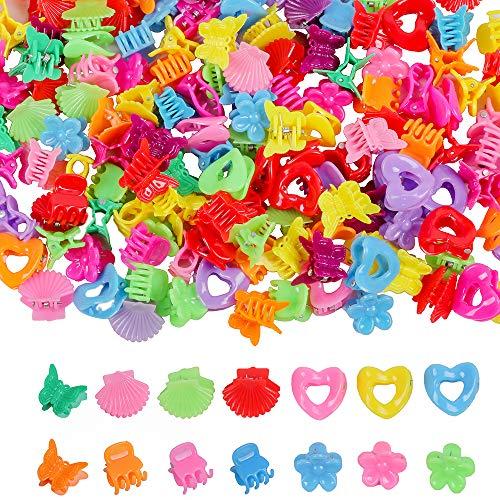 YMHPRIDE 100 piezas Mini pinzas para el cabello coloridas,mariposa,flor,concha y corazón Pinzas de plástico para el cabello,5 estilos de accesorios para el cabello para mujeres y niñas,color aleatorio