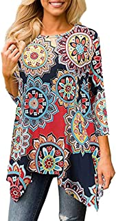 Jojckmen Girls 3/4 Sleeve Irregular Hem Floral Print Loose Blouse Tops Tunic Shirt