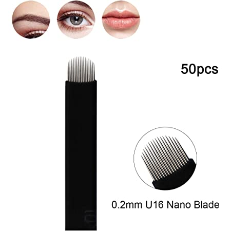 Guapa 50 Pcs U Shape 16 e 18 Aghi neri Microblading Blade Trucco Permanente Sopracciglio manuale per tatuaggio (U16)