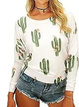 KUFV Womens Cactus Printed Crew Neck Long Sleeve Sweatshirt Jumper Hoodie Tops