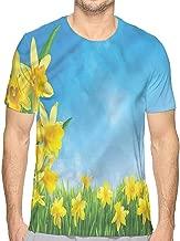 bybyhome Mens t Shirt Daffodil,Retro Flowers Pattern HD Print t Shirt
