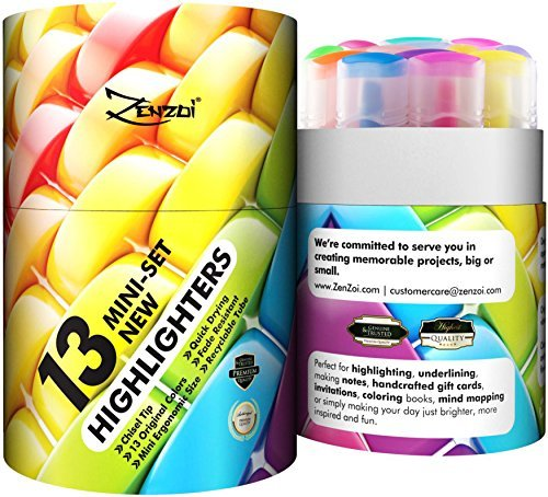 Highlighters Markers Assorted Colors Bulk Fluorescent Highlighter Marker Pens Pack Large Set Color Chisel Tip Yellow Blue Green Pink Orange Pastel (Set of 13 (Limited Edition, New Colors))