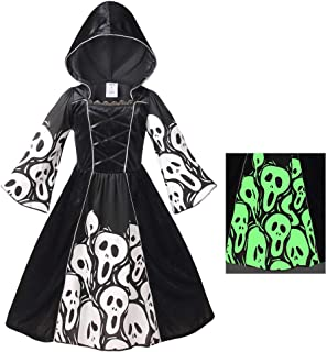 Skeleton Ghost Witch Costume for Girls, Glow in The Dark, Halloween Fearsome Costume