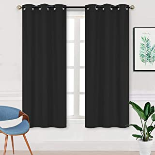 Home Collection 2 Panels 100% Blackout Curtain Set Solid Color with Rod Pocket Grommet Drapes for Kitchen, Dinning Room, B...