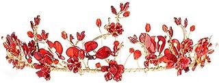 YNYA Tiare Bridal Crown Headband Red Headdress Wedding Accessori per Capelli da Sposa FEDI Nuziali per Capelli