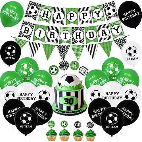 AYUQI Fußball Geburtstagsdeko Jungen mit DIY Cake Topper, Happy Birthday Banner, Schwarz Grün Luftballon für Kinder Jungen Herren Sport Themed Geburtstags Festival Party Games Dekoration