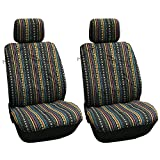 4 Pc Universal Cabo Inca Saddle Mexican Blanket Front Seat Covers Pair Low Back