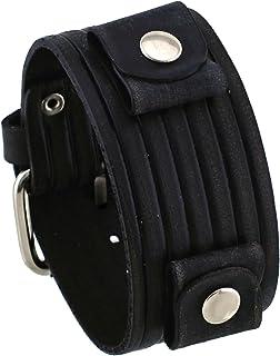 ネメシス# veb-k Grooveパターンワイドブラックレザーカフ手首腕時計バンド