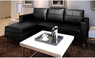 Sectional Sofa 3-Seater Artificial Leather Black 1 L-Shaped Sofa, 3 Pillows and 3 Cushions 74