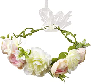 Flower Crown for Women, Handmade Girl Floral Crown Wreath Flower Headband Headpiece for Wedding Ceremony Party Festival(White)