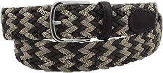 ESPERANTO Cintura TAGLIE EXTRALARGE, intrecciata in Cotone e vero cuoio 3,5 cm fibbia nichel free (da 135 cm a 170 cm)