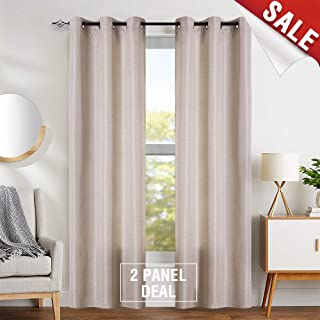 jinchan Linen Textured Curtains for Living Room 84 inches Long 1 Pair Jacquard Window Treatment Set for Bedroom Drapes Beige