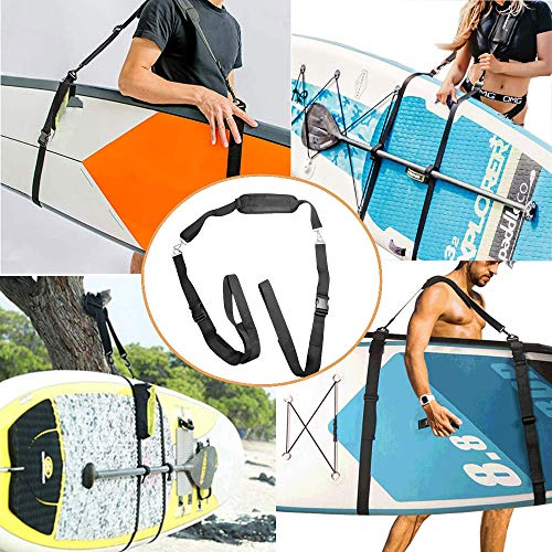 JD106 Comfortable Soft Shoulder Carry Straps Kayak Easy Carrier Sling with Adjustable Length for Surfbard,Longboards,Paddle Board with Metal Accessories,Black Nylon Material