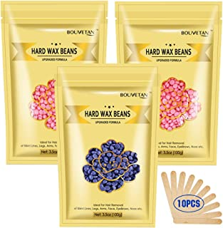 10.5Oz Hard Wax Beans for Painless Hair Removal Waxing Kit, At Home Wax Beads for Eyebrow, Facial, Legs, Arms, Bikini, Waxing Beads for Hair Removal with 10pcs Wax Spatulas (2Rose+1Lavender)