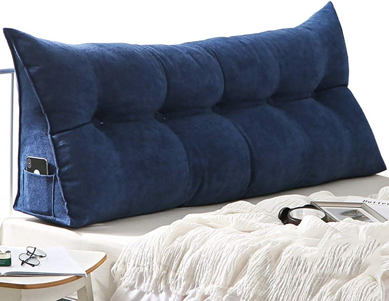 Coussins lombaires Coussin d'oreiller de coin triangulaire de chevet pour la lecture, coussin de dossier pleine grandeur souple avec revêteHommest amovible (Couleur   Bleu foncé, taille   120×20×50cm)