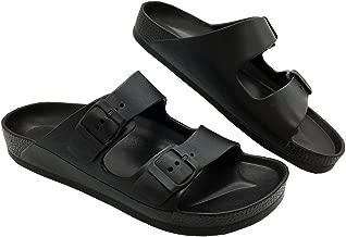 LUFFYMOMO Adjustable Slip on Eva Double Buckle Slides Comfort Footbed Thong Sandals for Womens Mens