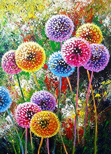 5D Color Dandelion Diamond Painting Stitch DIY Embroidery Full Drill Diamond by Number Kits Home Decor Gift,Cross-Stitch Stamped Kits 12X16Inch
