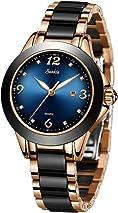 LIGE Watches Women Stainless Steel Ceramics Strap Watches Ladies Fashion Casual Quartz Watch