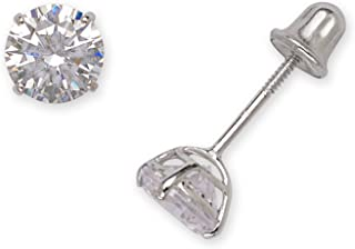14k White Gold Solitaire Round Cubic Zirconia CZ Stud Screw-back Earrings (2mm-7mm)