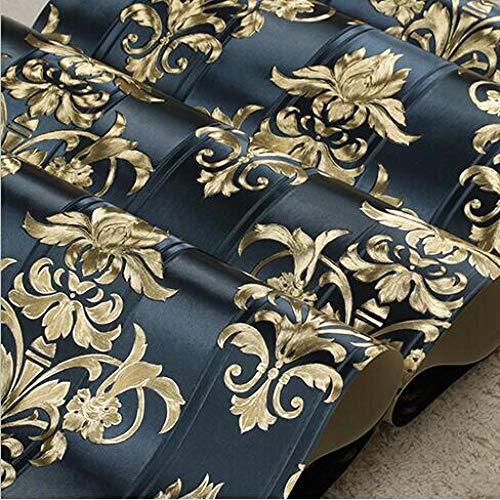 ACCEY Carta da parati damascata dorata di lusso 3D damasco in carta da parati con texture in vinile europeo Carta da parati a righe floreale a righe da salotto Roll @ Z05002_Dark_blue_10mx53cm